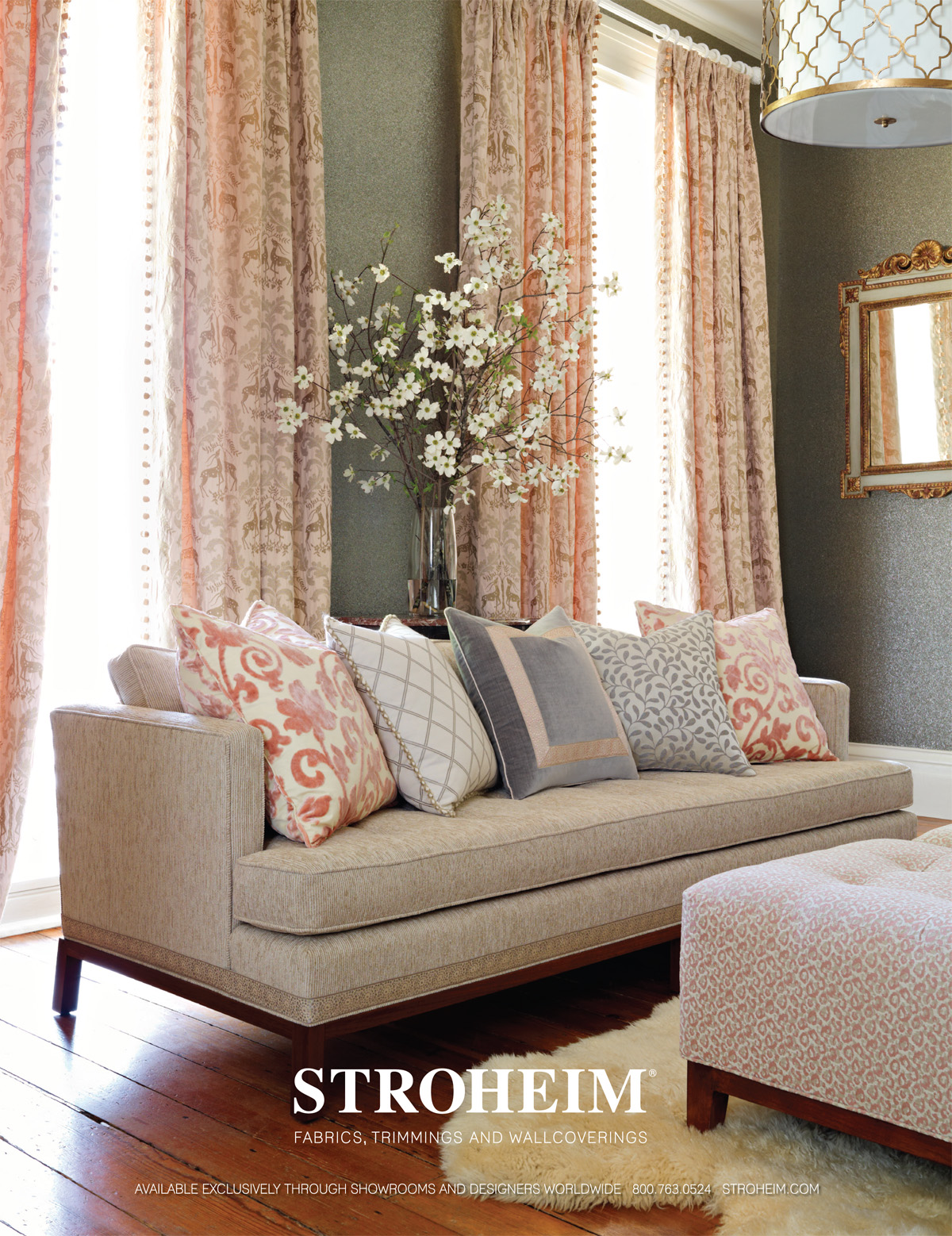 Stroheim on trend and in the pink stonemill for Living room ideas pink and grey